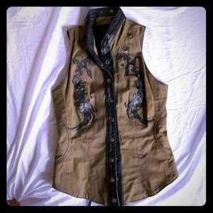 vintage skingraft corset leather studded vest top